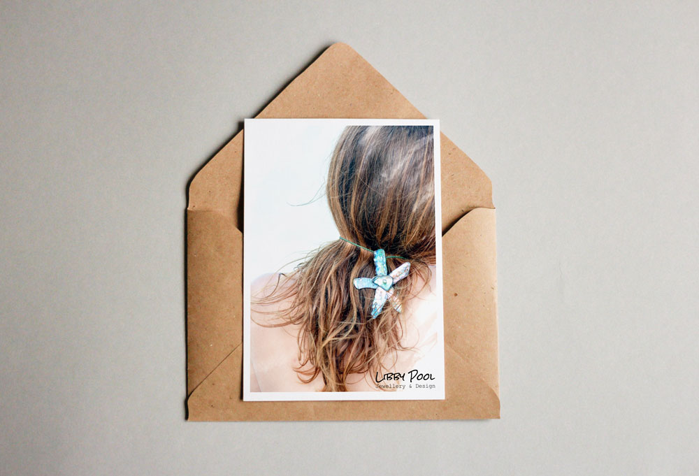 Post card design for Libby Pool Jewellery